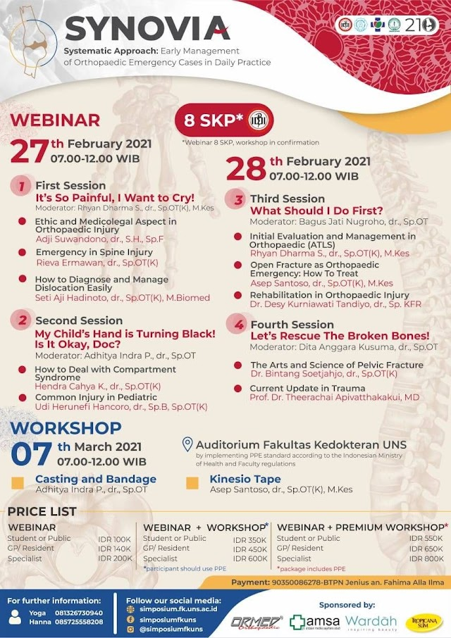 Webinar and Workshop (SKP IDI) *SYNOVIA*  _Systematic approach: Early Management of Orthopedic Emergency Cases in Daily Practice._