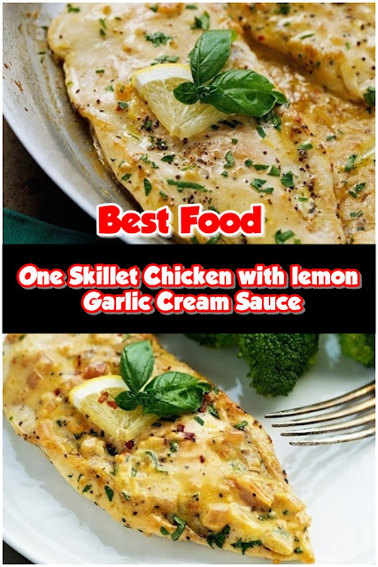 #One #Skillet #Chicken #with #Lemon #Garlic #Cream #Sauce
