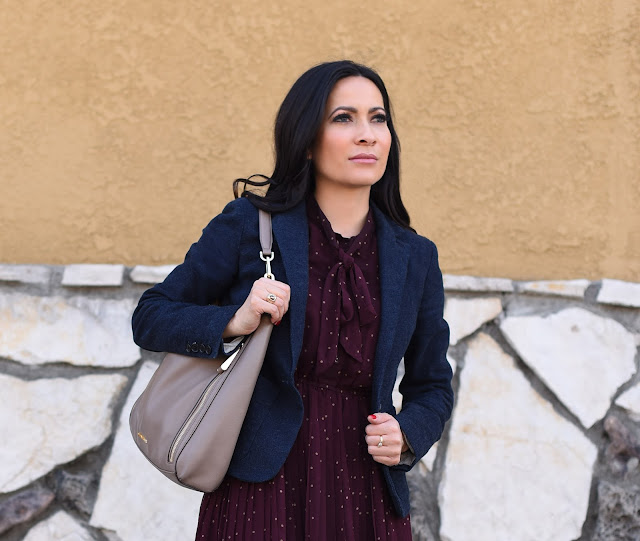 Harry Potter Inspired Outfit Post Michael Kors tan hobo bag Blu Pepper burgundy polka dot dress navy blue Armani Exchange  blazer