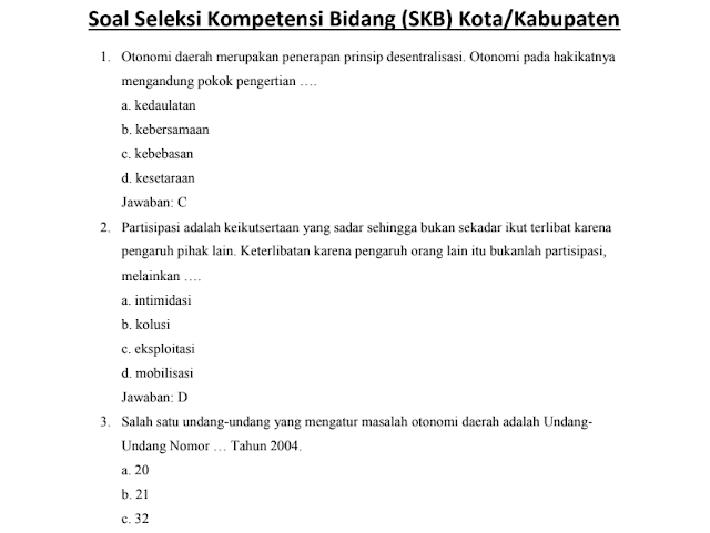 Materi Soal SKB Kota/Kabupaten CPNS 2020 (Seleksi Kompetensi Bidang)