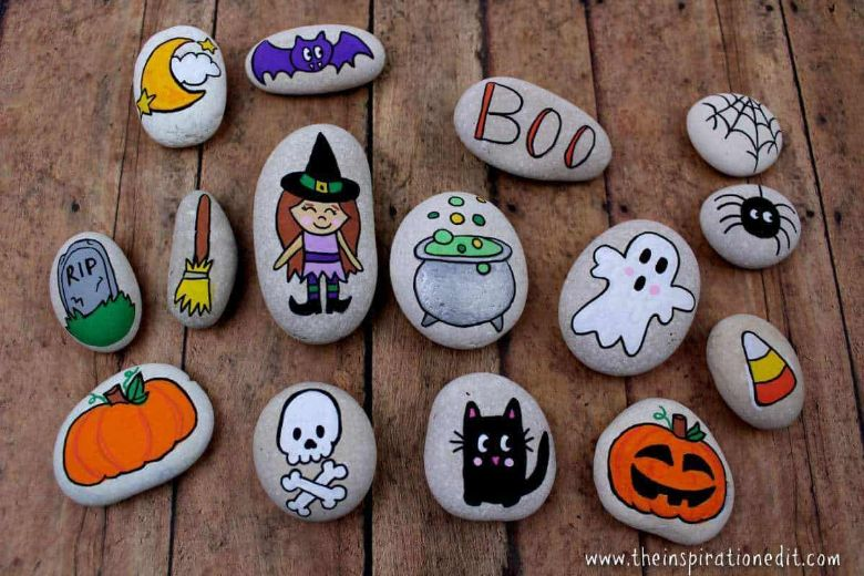 Halloween story stones rock painting ideas for kids