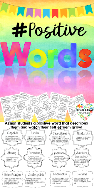 https://www.teacherspayteachers.com/Product/Positive-Words-activity-the-power-of-words-self-esteem-SEL-Counseling-2723741