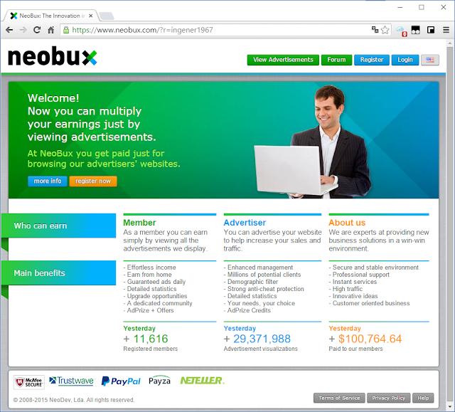 Главная страница Neobux