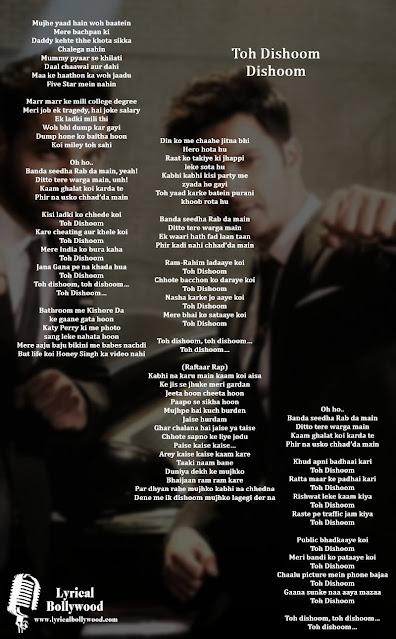 Toh Dishoom Lyrics in English