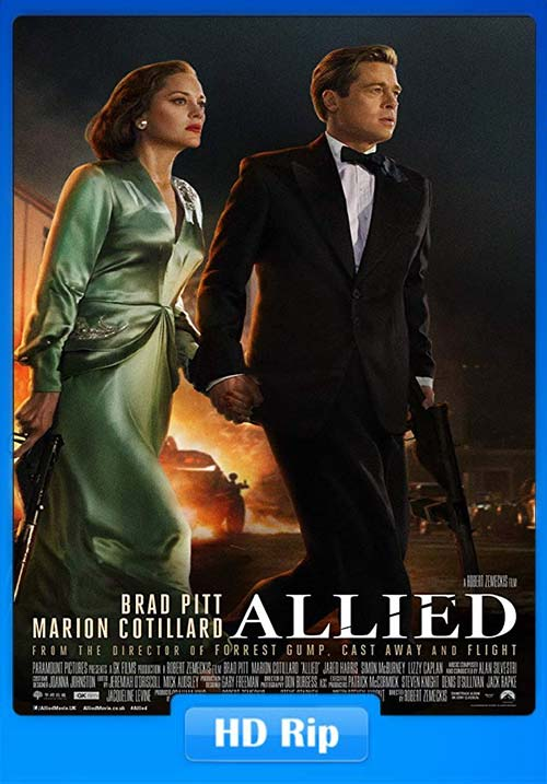 Allied 2016 720p BDRip Hindi English x264 | 480p 300MB | 100MB HEVC
