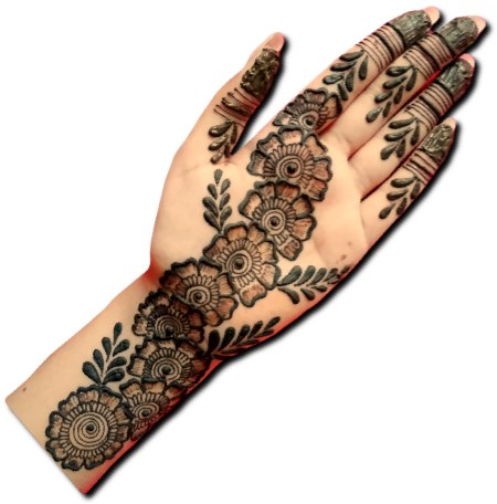 Flower Mehndi Design for Front Hand