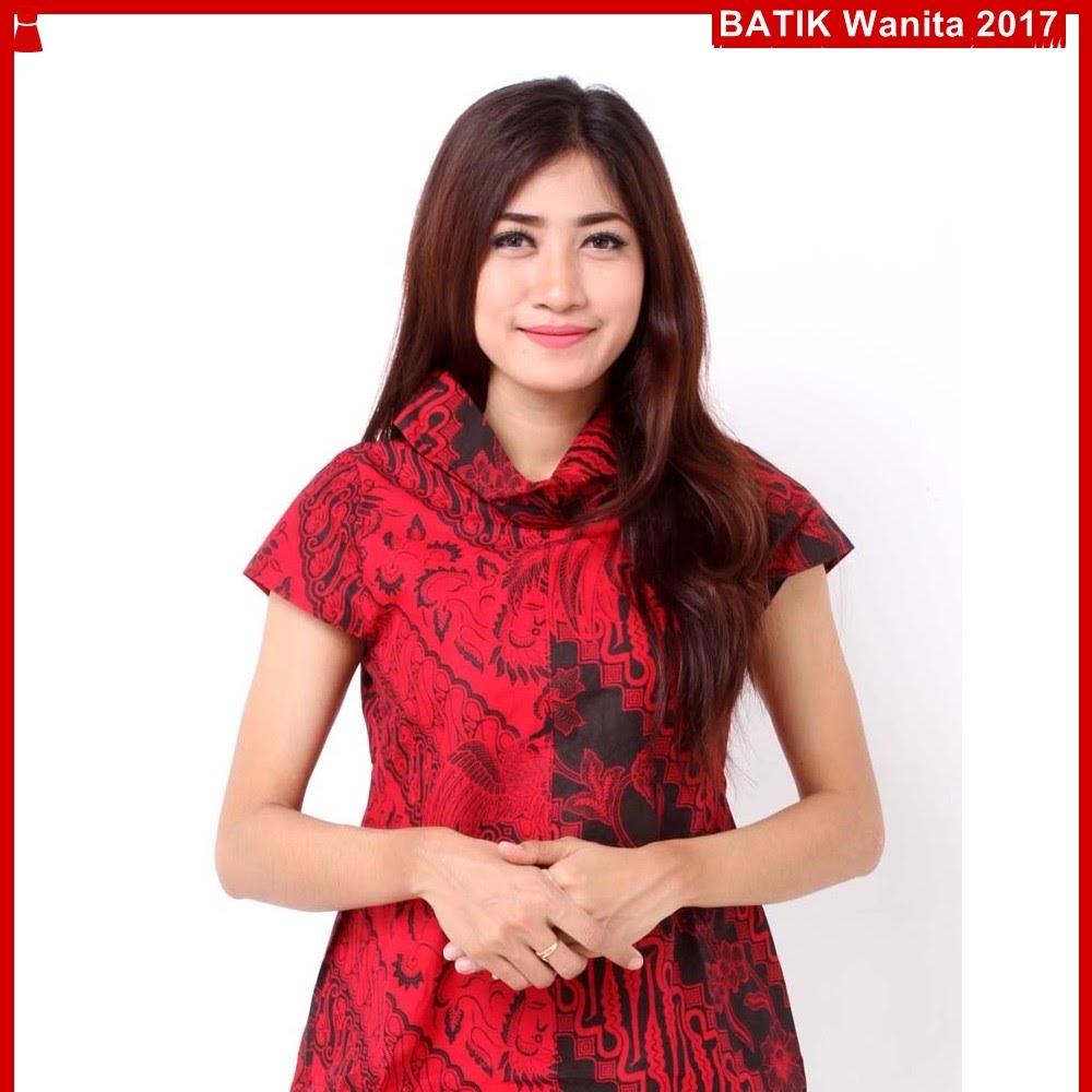 A5TBD Blouse Kemeja Batik Lionie Maroon Bj99A5