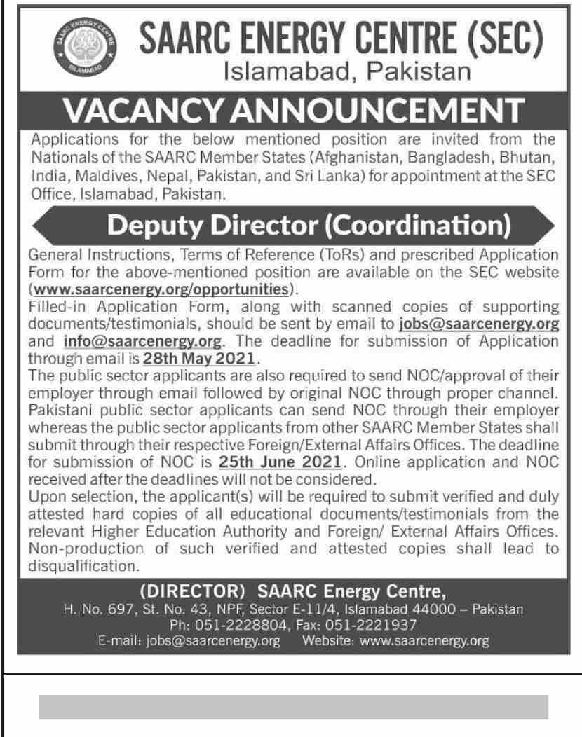 www.saarcenergy.org/opportunities - SAARC Energy Centre (SEC) Jobs 2021 in Pakistan