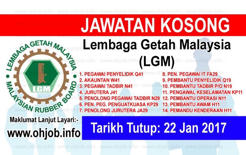 Jawatan Kerja Kosong Lembaga Getah Malaysia (LGM) logo www.ohjob.info januari 2017