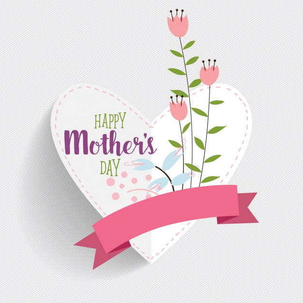 Happy mother's day card with heart shape Free Vector