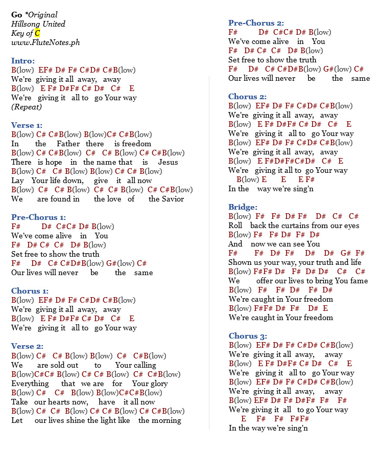 Music Letter Notation With Lyrics