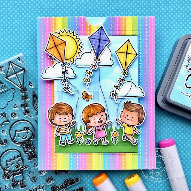 Sunny Studio Stamps: Spring Showers Sliding Window Dies Sunny Sentiments Spring Scenes Interactive Birthday Card by Lynn Put