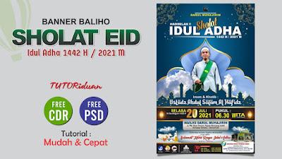 Desain Banner Baliho Sholat Eid PSD