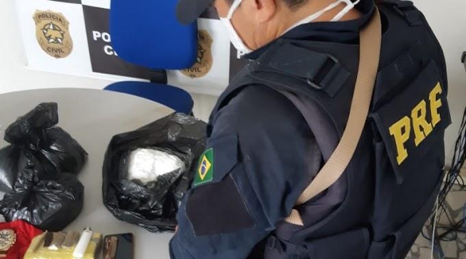 PRF apreende maconha e cocaína e prende homem na BR 304 em Mossoró