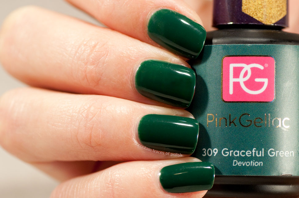 Pink Gellac Devotion Collection swatches - 309 Graceful Green