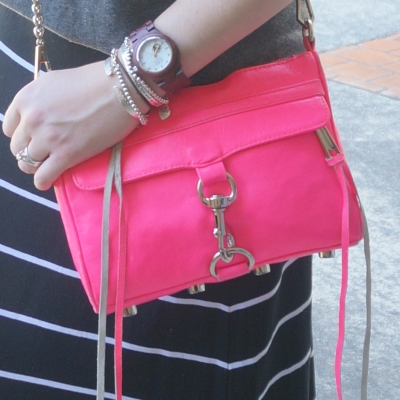 JORD Cora purpleheart and mother of pearl watch Rebecca Minkoff neon Mini MAC Bag | Away From The Blue