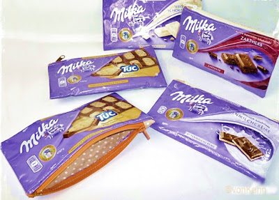 Schokoladenpapier Upcycling, Milkatäschchen, Schokotäschchen