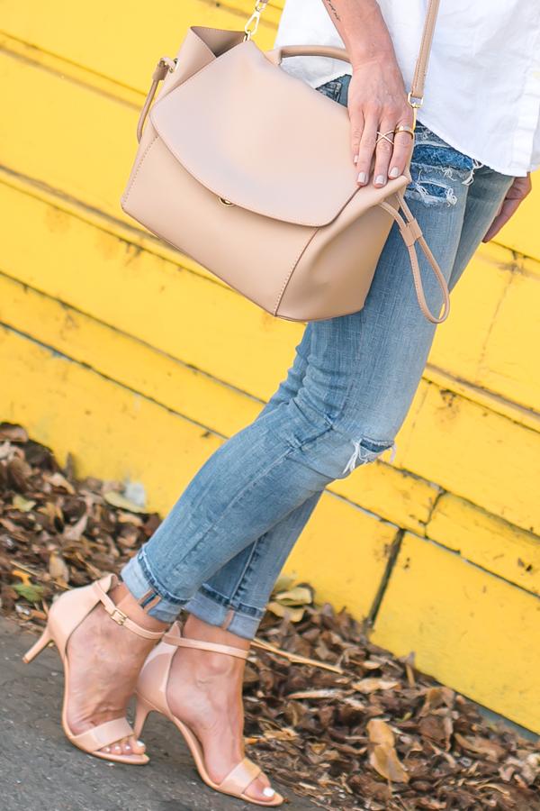 beige crossbody satchel