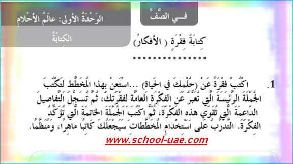 دروس الكتابة مادة اللغة العربية للصف الثالث الفصل الدراسى الاول - مدرسة الامارات-