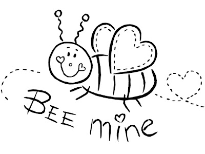 Bee Mine Printable Valentines Kids Coloring Pages