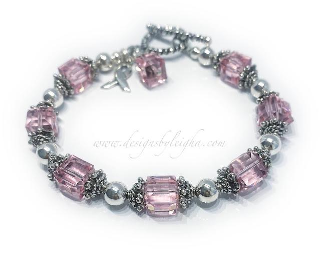Pink Crystal Ribbon Bracelet - Survivors