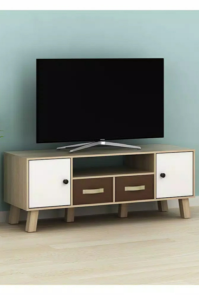 Rak tv arnor minimalis warna kombinasi bergaya retro harga termurah bahan particle board