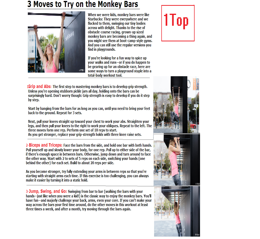 1c385e19efcd fitness monkey: Make a strong body with three simple Moves on the monkey bar