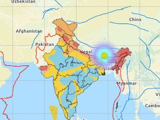 भूकंप का केंद्र सिक्किम की राजधानी गंगटोक से 25 किमी पूर्व और उत्तर पूर्व की तरफ जमीन में 10 किलोमीटर की गहराई पर था।