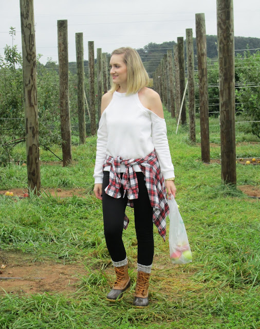 Cold Shoulder Cut Out Fleece Sweater from Tobi with LL Bean Boots