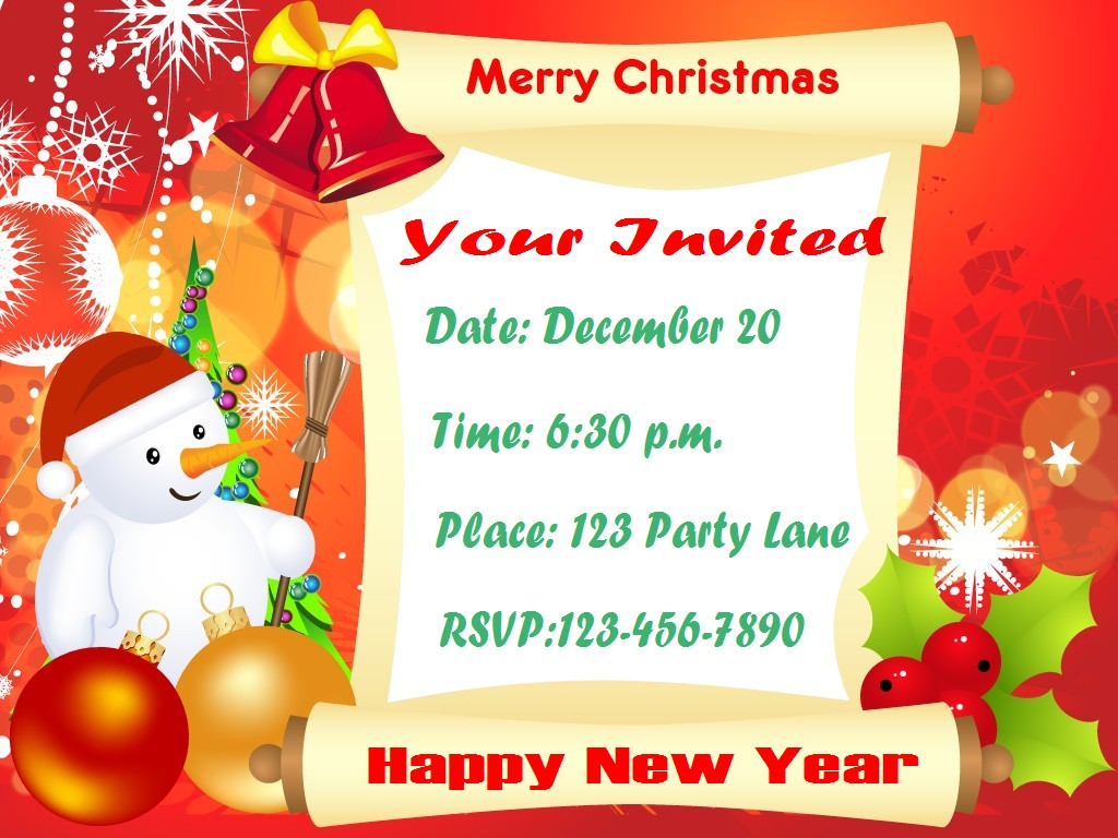 Doc15001071 Free Christmas Invitation Templates Free – Free Templates Christmas Invitations