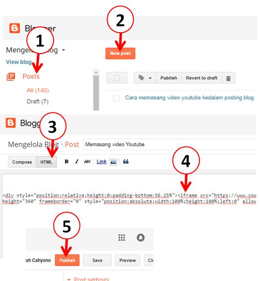 Cara memasang script kode embed youtube di postingan blog