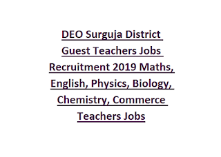 DEO Surguja District Guest Teachers Jobs Recruitment 2019 Maths, English, Physics, Biology, Chemistry, Commerce Teachers Jobs