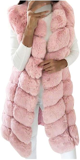Designer Pink Faux Fur Vests For Women
