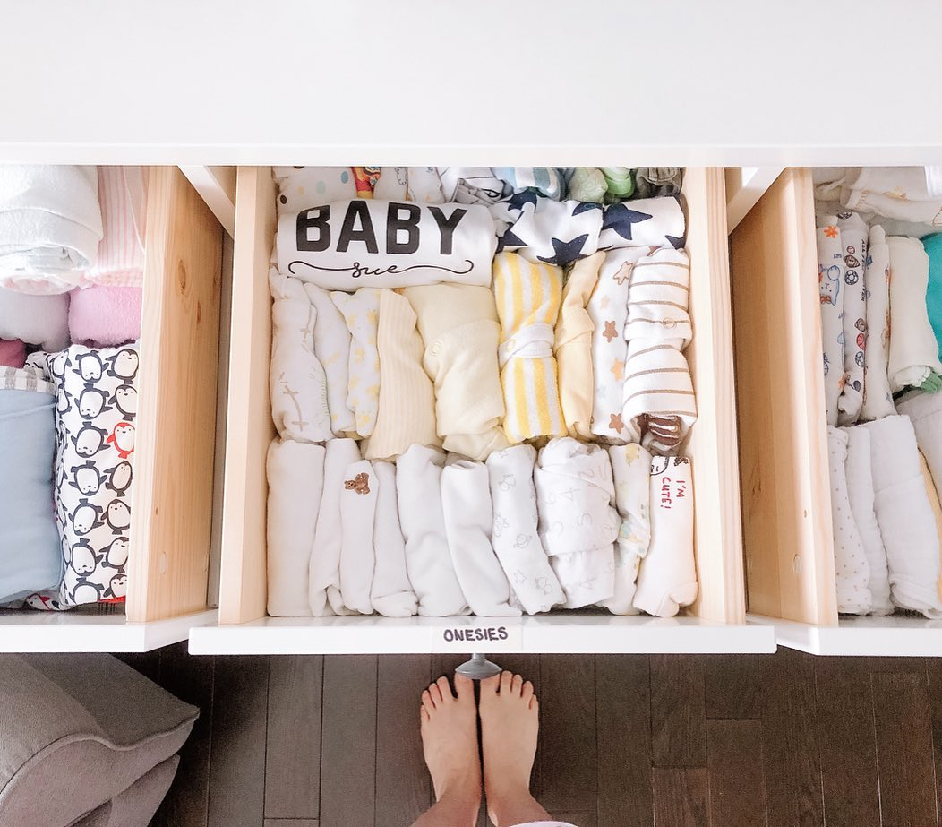 Our Baby Nursery Room Reveal - organize baby wardrobe marie kondo