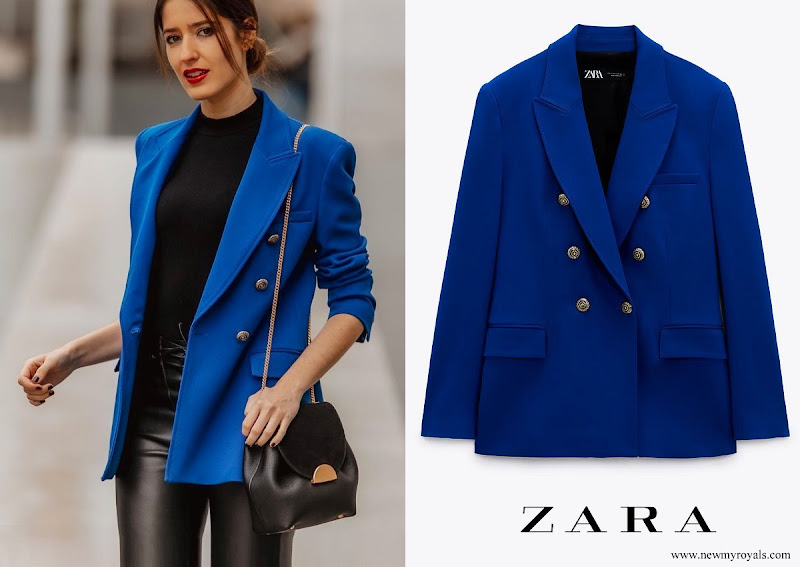 Kate Middleton wore Zara cobalt tailored double breasted blazer