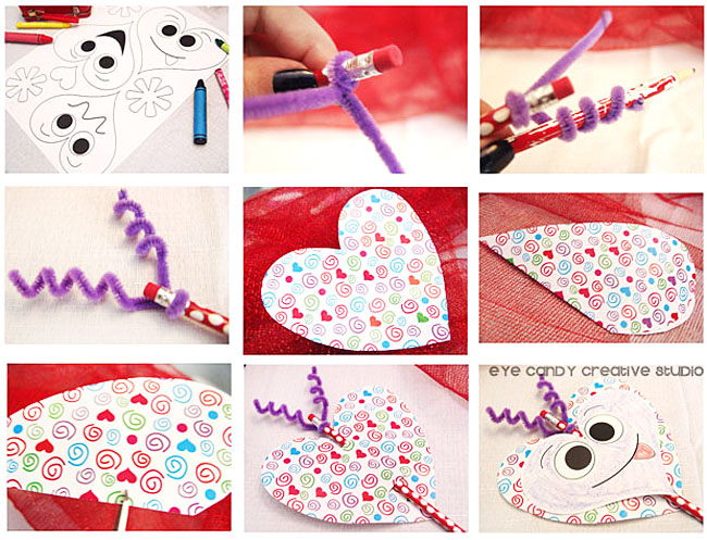 step by step directions for pencil topper, valentine pencil craft, kid craft