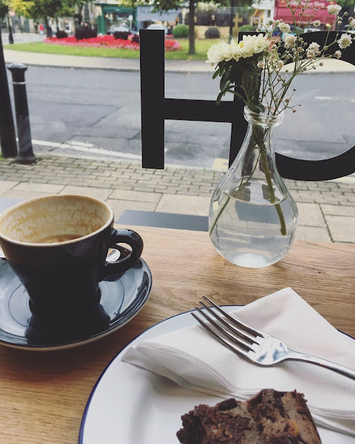 Birthday flat white and chocolate brownie at Hoxton North, Harrogate