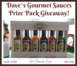 Enter the Dave's Gourmet Sauces Prize Pack Giveaway. Ends 12/20