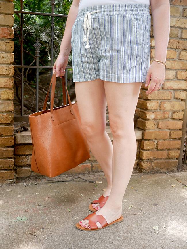 striped pull-on shorts - easy mom summer style