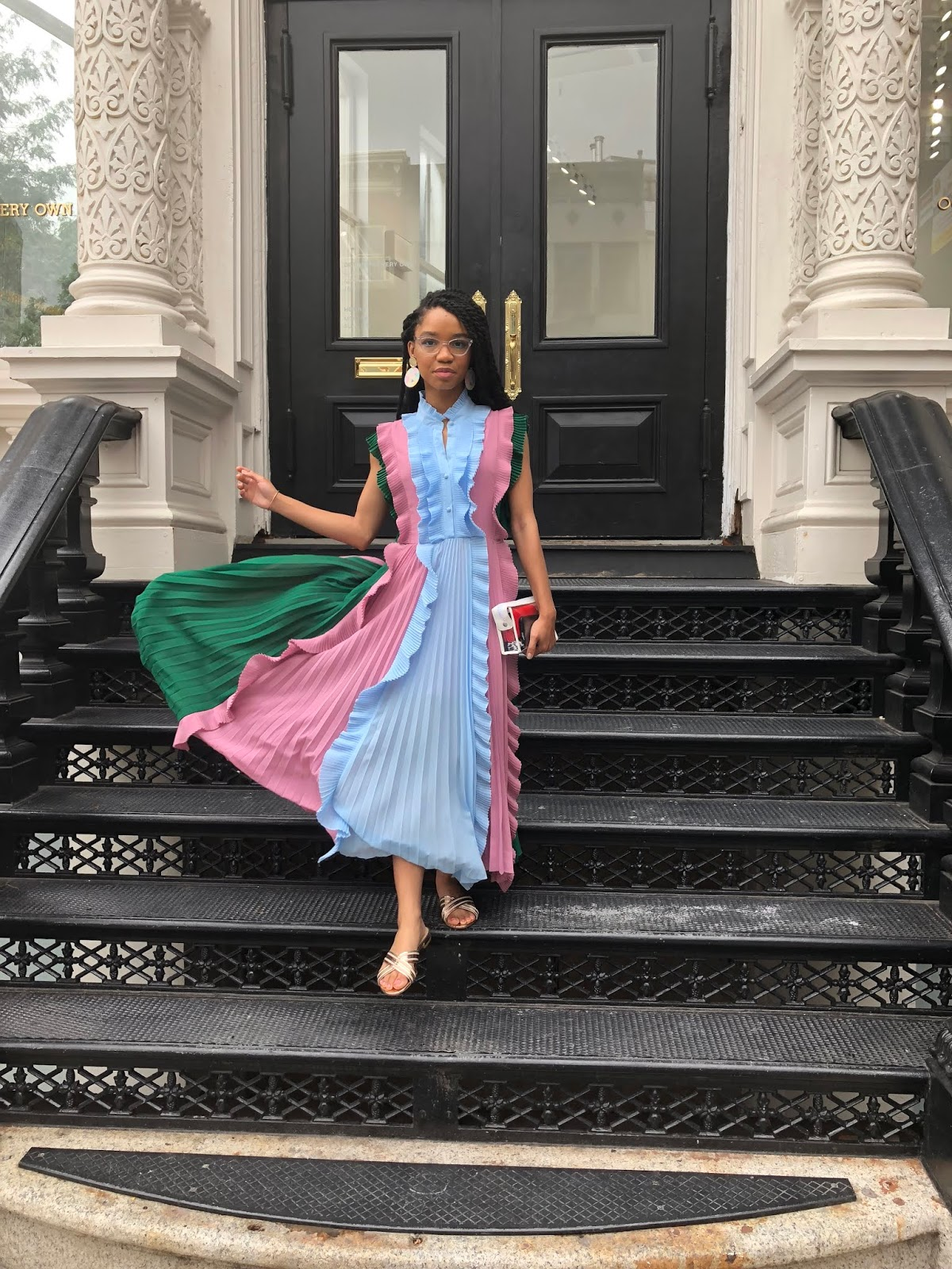 The Strong Suit, NYFW Outfit, New York Fashion Week Street Style, Spring/Summer NYFW 2020, Ruffles, Mutli-colored Dress, Midi Dress