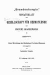 Brandenburgia. Monatsblatt der Gesellschaft für Heimatkunde der Provinz Brandenburg zu Berlin. XI. Jahrgang 1902 1903. Berlin 1903