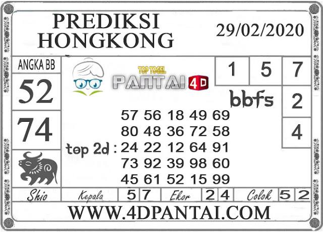 PREDIKSI TOGEL HONGKONG PANTAI4D 29 FEBRUARI 2020