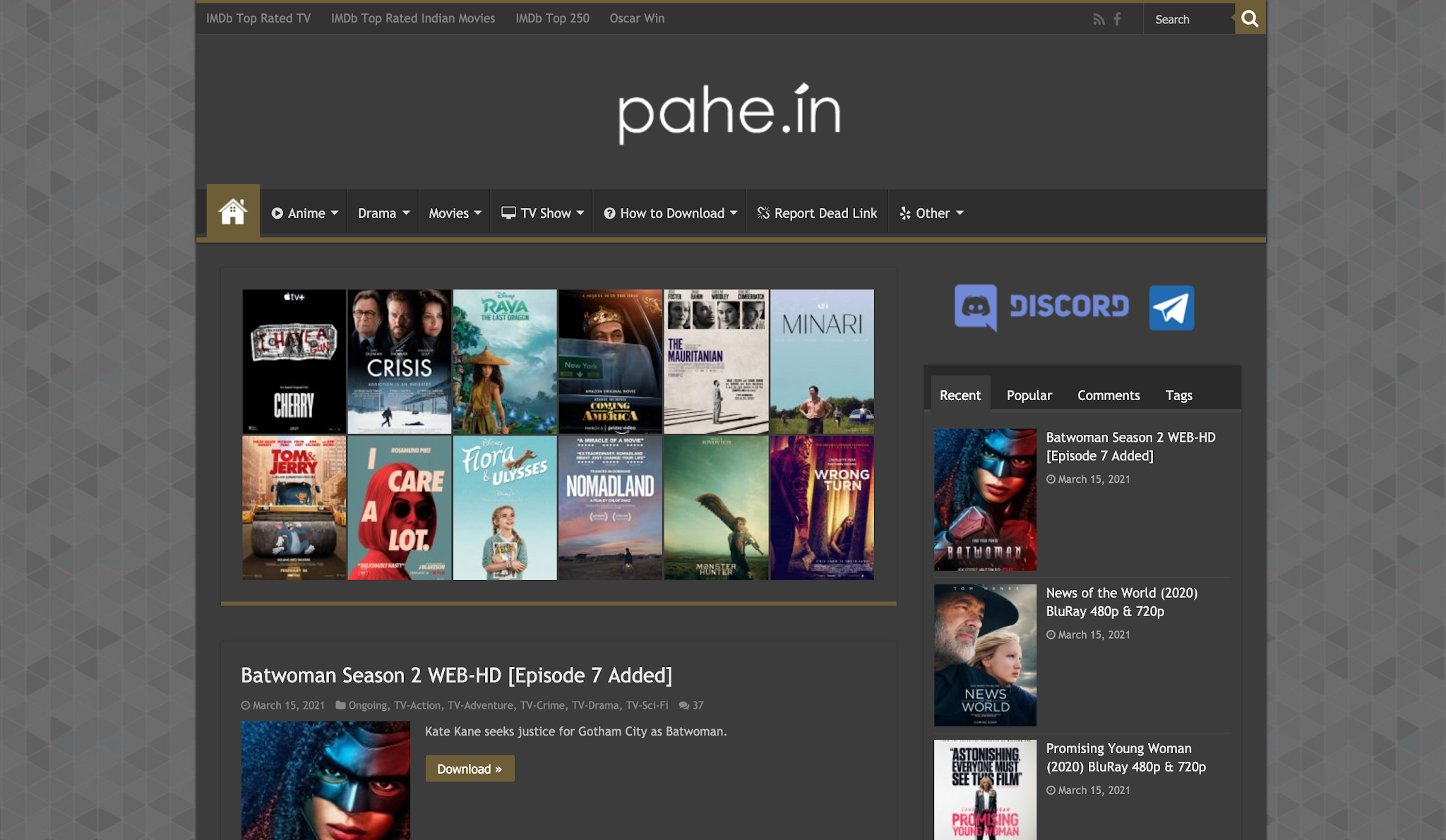 Pahe new website