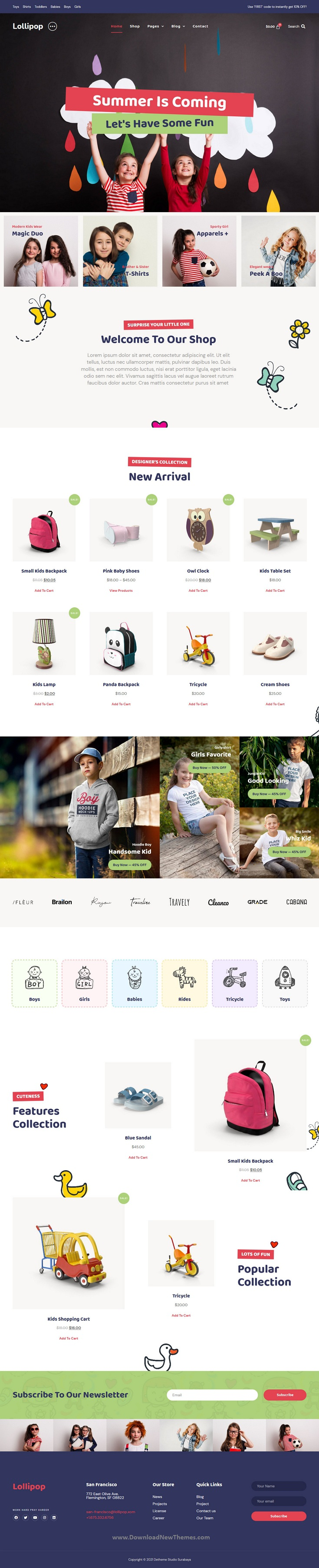 Kids and Baby Store WooCommerce Elementor Template Kit
