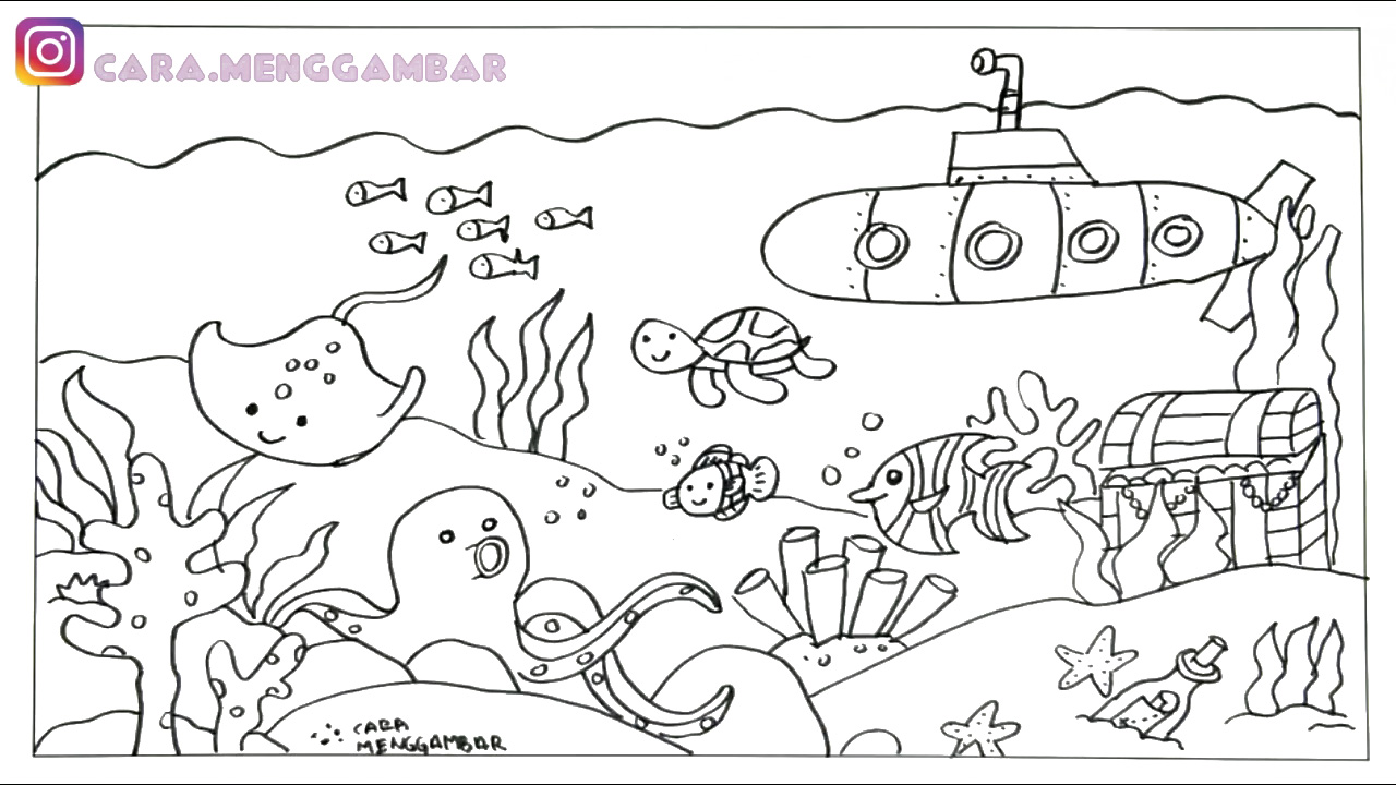 Cara Menggambar Dan Mewarnai Tema Pemandangan Bawah Laut