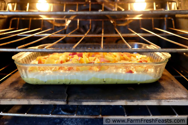 peach gooey butter cake in the oven, ready to bake