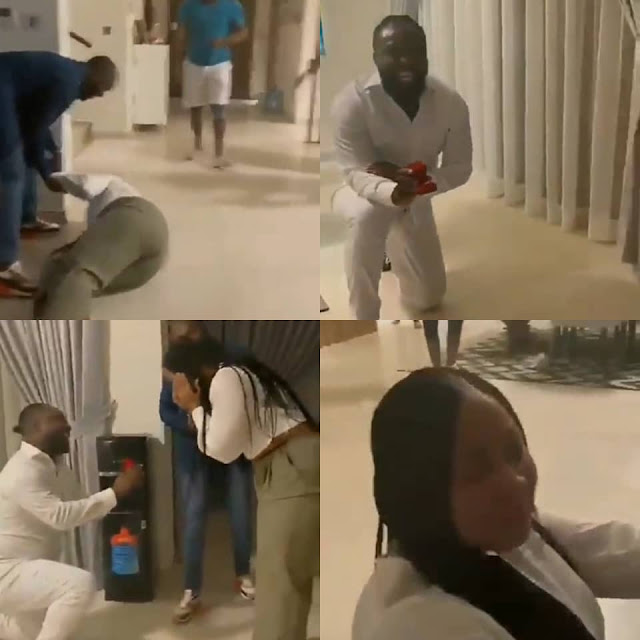 Lady Falls on the floor and cries after her Boyfriend Proposed to her on her Birthday (Video)