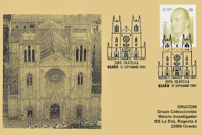 tarjeta, filatelia, matasellos, iglesia, San Lorenzo, Gijón