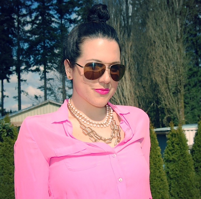 Joe Fresh pink silk blouse and Forever 21 chain and bead necklaces.
