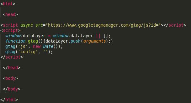 Estructura HTML con ubicacion de codigo de Google Analytics